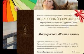 сертификат на мастер-класс по имиджу и цвету