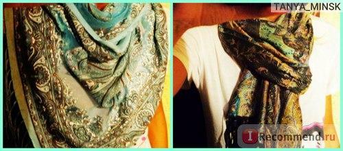 Шарф шелковый и шарф хлопковый, стоимость каждого 10 $. Я в Минске таких днем с огнем не найду