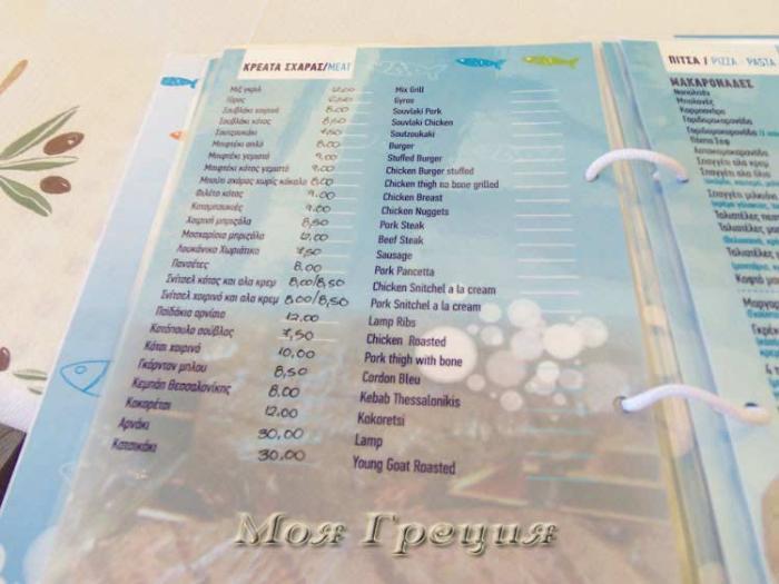 Цены в таверне на набережной Уранополиса