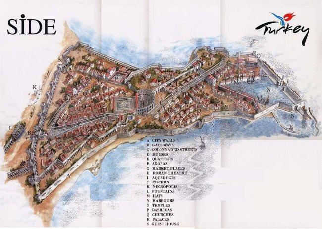 Карта Античного города Сиде