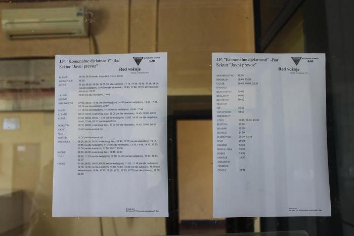 расписание автобусов Бар, Черногория