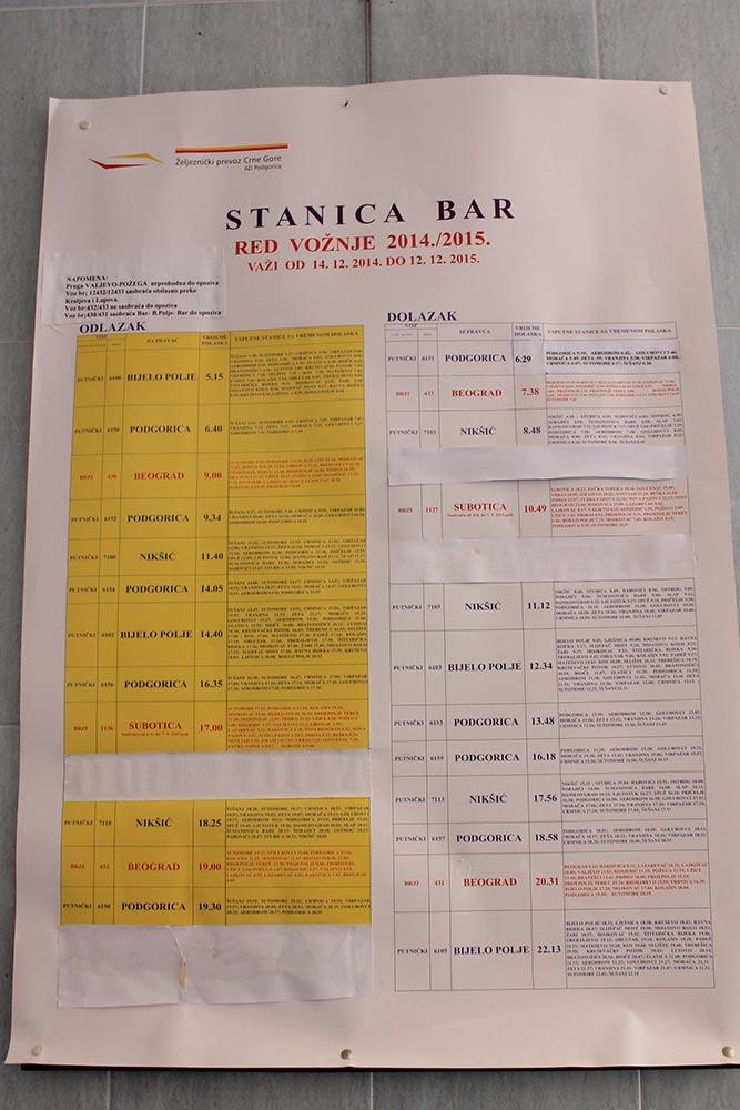 Расписание поездов Бар, Черногория