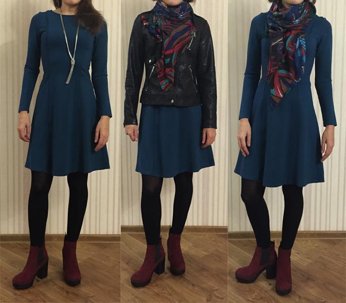 трикотажное платье и косуха
