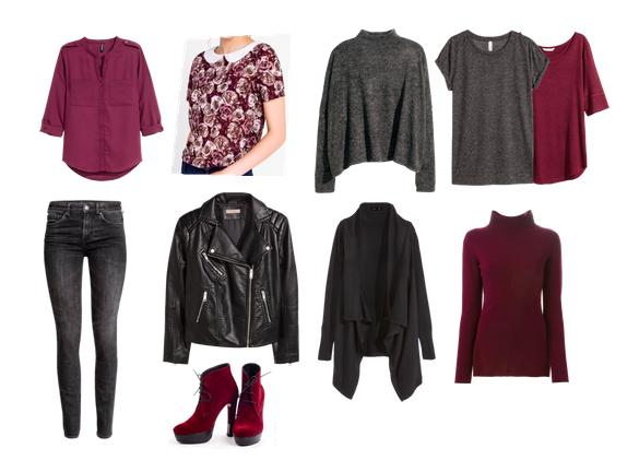 капсула, комплект, цветочный принт, джинсы, косуха, вишневый