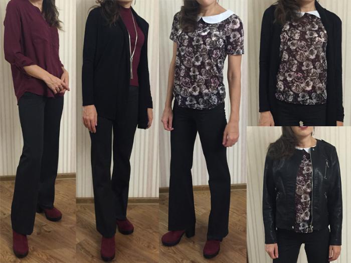 брюки, топ, капсула, вишневый, блуза, рубашка, цветочный принт, кардиган