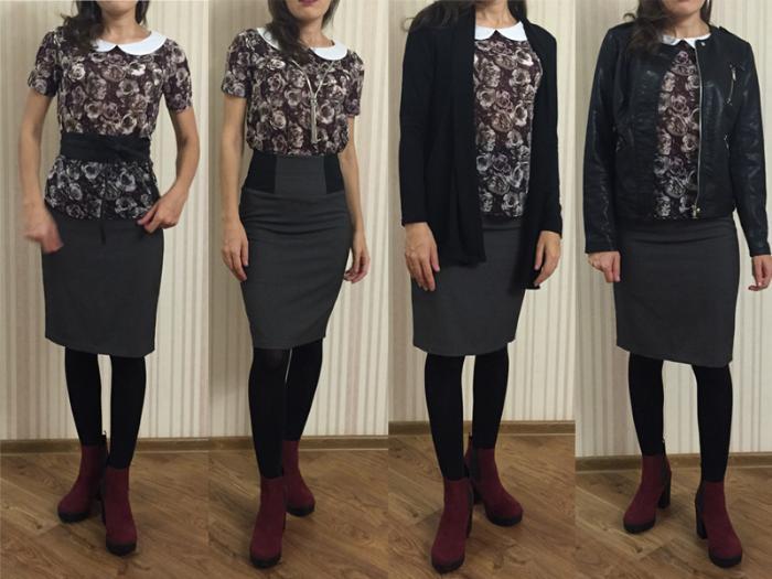 юбка-карандаш, блузка цветочный принт, кардиган, косуха
