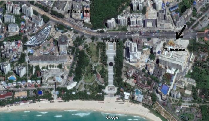 Где находится торговый центр Ананас, карта бухты Дадунхай