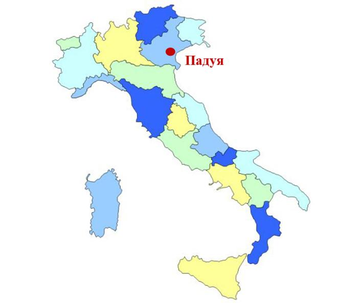 Падуя на карте Италии