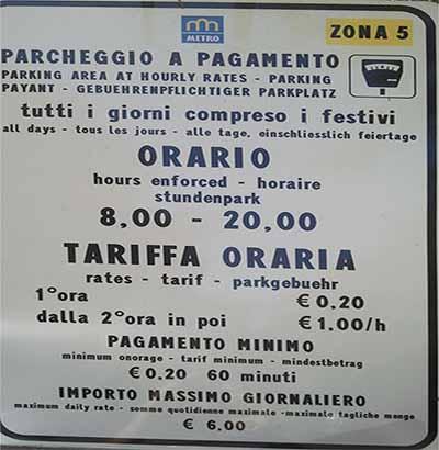Парковка в Лукка - тарифы