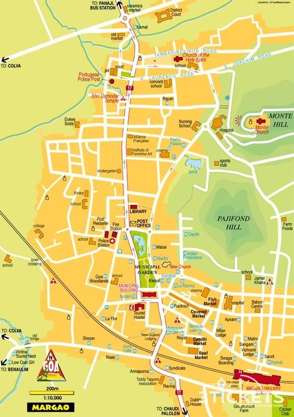 Туристическая карта Маргао