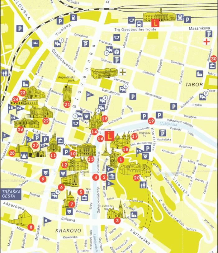 Туристическая карта Любляны