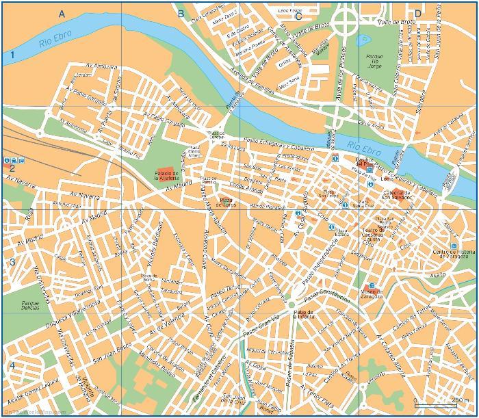 Подробная карта Сарагосы с достопримечательностями