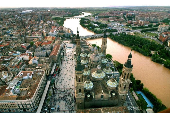 Вид города Сарагоса с высоты