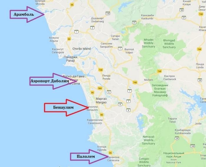 Бенаулим на карте