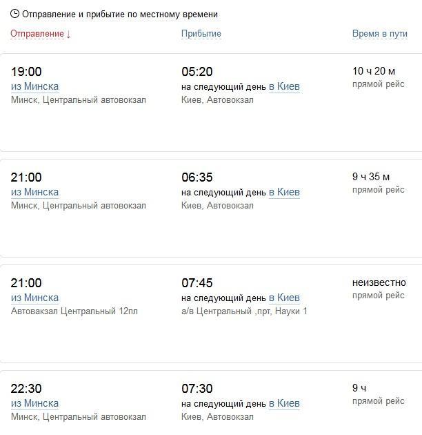 Расписание на автобус Минск → Киев
