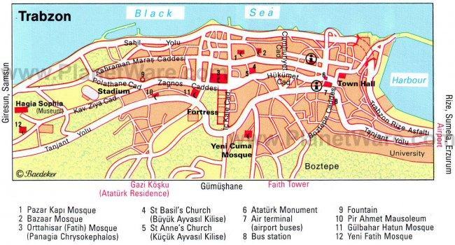 Карта достопримечательностей Трабзона