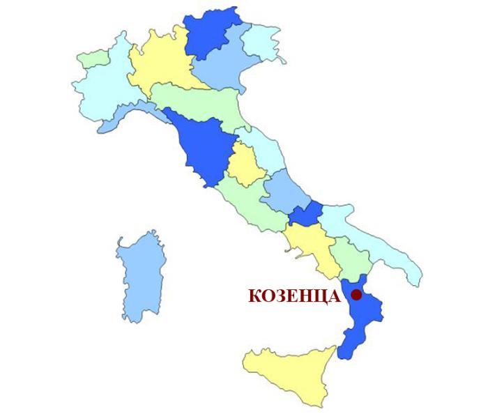 Козенца на карте Италии