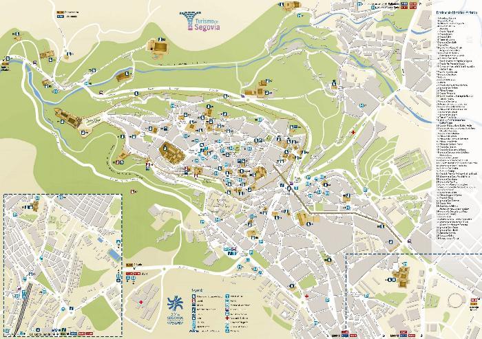 Подробная карта Сеговии с достопримечательностями
