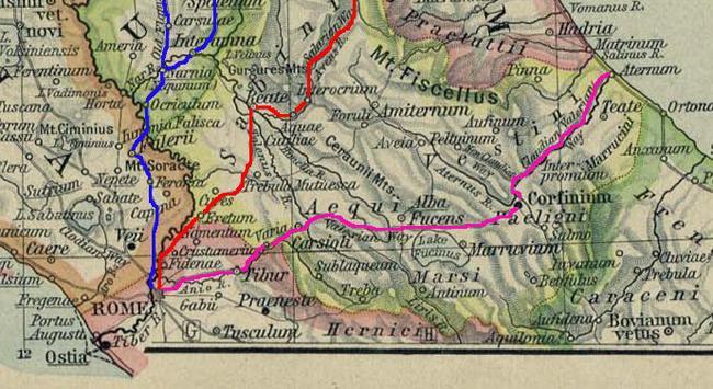 Карта с древнеримскими дорогами