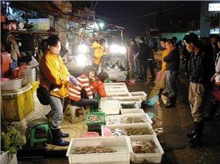 Рынок морепродуктов на улице Идэ